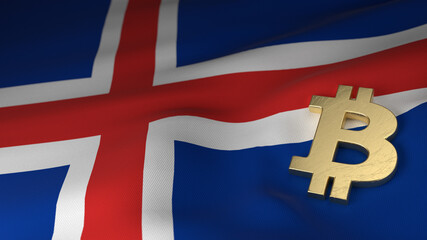 Bitcoin Currency Symbol on Flag of Iceland