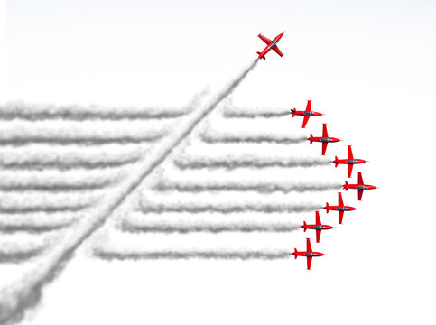 Disruptor and game changer or change concept and disruptive innovation symbol and be an independent thinker with new ideas as an individual jet breaking through a group of airplane smoke on white.