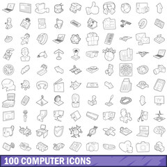 100 computer icons set, outline style