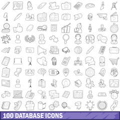 100 database icons set, outline style