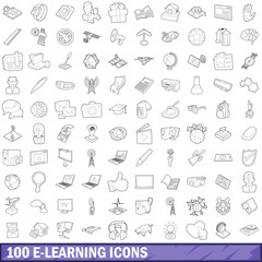 100 e-learning icons set, outline style