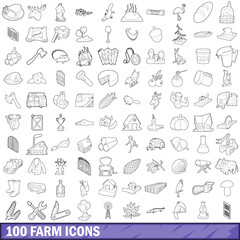 100 farm icons set, outline style