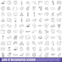 100 it business icons set, outline style