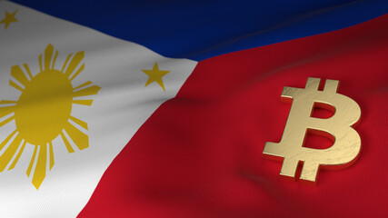 Bitcoin Currency Symbol on Flag of the Philippines