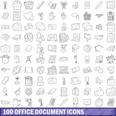 100 office document icons set, outline style