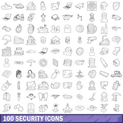 100 security icons set, outline style