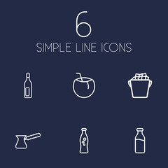 Set Of 6 Beverages Outline Icons Set.Collection Of Soda, Glass, Cocos And Other Elements.