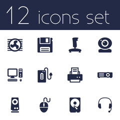 Set Of 12 Laptop Icons Set.Collection Of Hard Disk, Computer, Control Device And Other Elements.