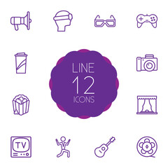 Set Of 12 Entertainment Outline Icons Set.Collection Of Bullhorn, Dancing Man, Game Controller And Other Elements.