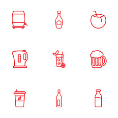 Set Of 9  Outline Icons Set.Collection Of Cappuccino, Lime, Wine Cask And Other Elements.