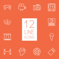 Set Of 12 Pleasure Outline Icons Set.Collection Of Photo Camera, Vr Helmet, Cinema And Other Elements.