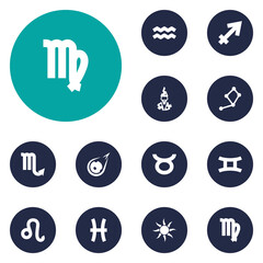 Set Of 12 Astronomy Icons Set.Collection Of Fishes, Water Bearer, Solar And Other Elements.