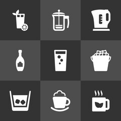 Set Of 9  Icons Set.Collection Of Ice, Pot, Cream And Other Elements.