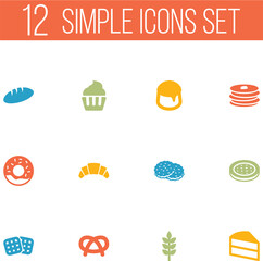 Set Of 12 Cooking Icons Set.Collection Of Doughnut, Cake, Crepe And Other Elements.