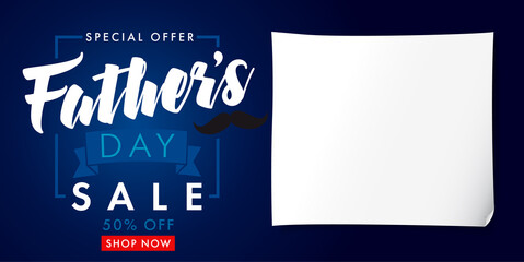 Father`s Day special offer SALE banner. Special offer Fathers Day sale promotion vector design