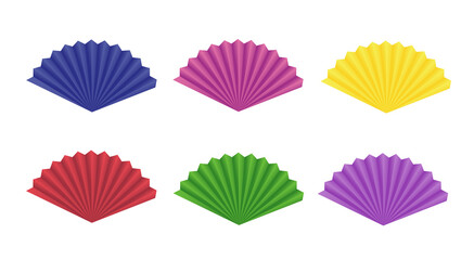 Set of vector colorful paper fans isolated on white background