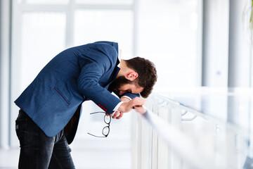 Depressed and sad man on hes job having problems