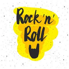 Rock 'n' Roll lettering. Hand drawn vector illustration, greeting card, design, logo.