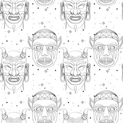 Seamless outline tribal mask pattern 27