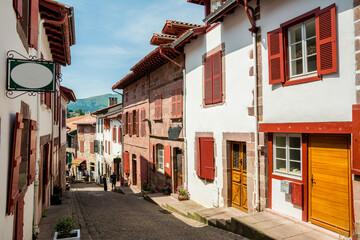 beautiful street of saint jean pied de port, France