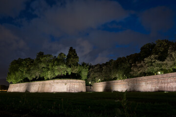 Medieval fortress wall in the Italian town of Lucca