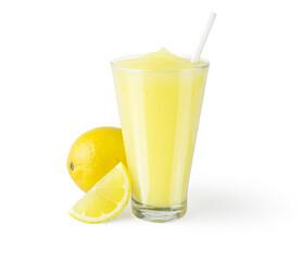Frozen Lemonade or Lemon Smoothie on White Background