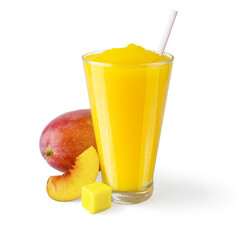 Peach Mango Smoothie or Shake on White Background