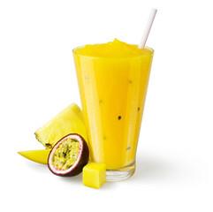 Tropical Fruit Smoothie or Shake on White Background