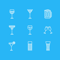 Vector Illustration Of 9 Drinks Icons. Editable Pack Of Martini, Beverage, Celebrate And Other Elements.