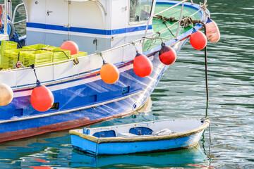 colorful fishing fleet at Bermeo port, Spain