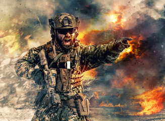 Bearded soldier of special forces in action pointing target and giving attack direction. Burnt ruins, Heavy explosions, gunfire and smoke billowing on background Wall mural