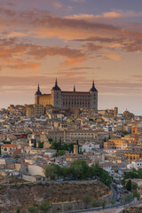 close view on Alcazar in Toledo,Spain at sunset