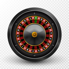 Realistic casino gambling roulette wheel isolated. Vector play chance luck roulette wheel illustration