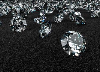 3D Rendering of Diamonds on Black Luxury Carpet Surface