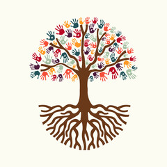 Wall Mural - Tree hand illustration for diverse people team help