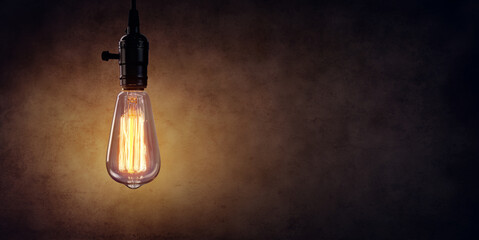 Vintage Hanging Light Bulb Over Dark Wall