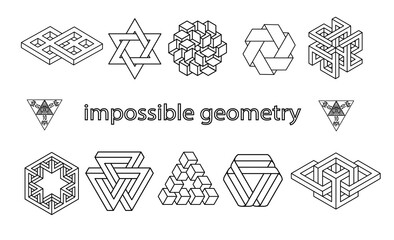 Impossible geometry symbols vector set.