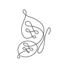 Modern continuous line butterfly. One line drawing of insect form for logo, card, banner, poster flyer.
