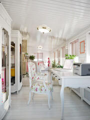 Classic Traditional Provence White and Pink Colors Veranda Home Office Interior Design With White furniture and White Wooden Wall Panels. 3d rendering