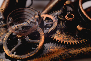 Background - gear and gears close-up. Steampunk