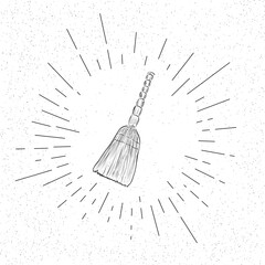 Symbol of Broom  - Cleaning Icon Concept -  Vector Illustration