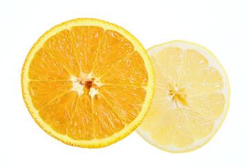 Orange and lemon close up