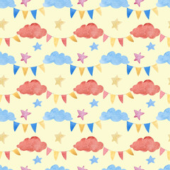 Watercolor illustrations of clouds and Checkboxes. Cute seamless pattern.