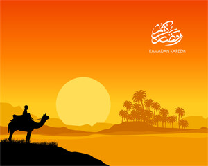 ramadan kareem sunset illustration. A man ride camel in the grass silhouette with sunset mosque, coconut tree, and sun background in ramadan moment
