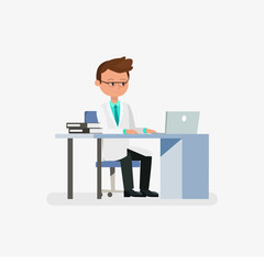 Doctor cartoon character sitting on desk with laptop and books vector