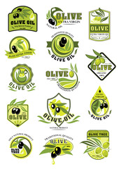 Olive oil product icons isolated vector set