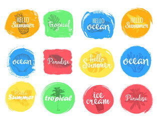 Set of colorful universal use circles, signs, badges, stickers, backgrounds for advertising, text, business, promotion. Summer hand written lettering.