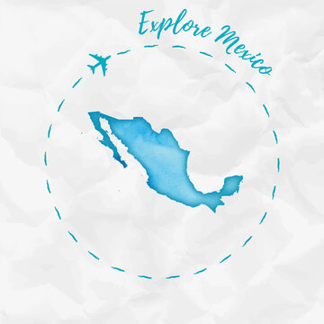 Mexico watercolor map in turquoise colors. Explore Mexico poster with airplane trace and handpainted watercolor Mexico map on crumpled paper. Vector illustration.