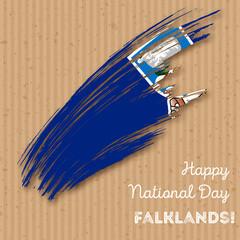 Falklands Independence Day Patriotic Design. Expressive Brush Stroke in National Flag Colors on kraft paper background. Happy Independence Day Falklands Vector Greeting Card.