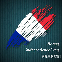 France Independence Day Patriotic Design. Expressive Brush Stroke in National Flag Colors on dark striped background. Happy Independence Day France Vector Greeting Card.